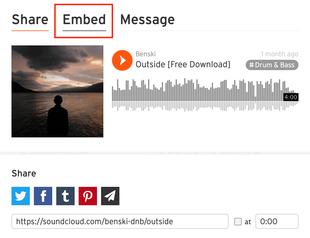 Selecting the Embed tab at the top of the Share dialog