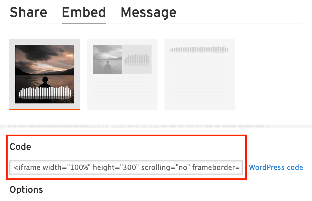 Code section highlighted in the Embed section of the Soundcloud Share dialog